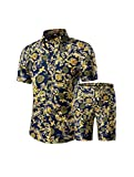 PASOK Men's Floral 2 Piece Tracksuit Casual Button Down Short Sleeve Hawaiian Shirt and Shorts Suit DC08 L
