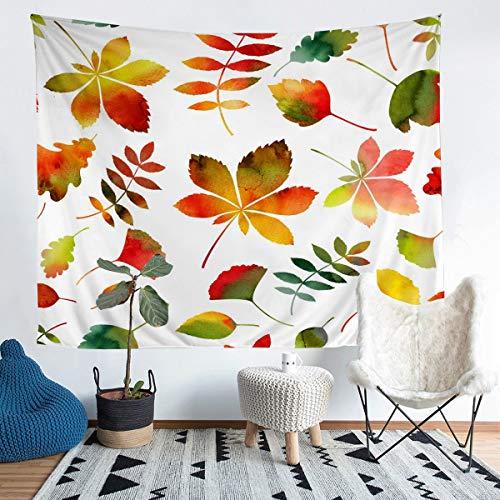 Patrón de hojas para colgar en la pared otoño hojas rojas tapiz para niños niñas mujeres colorido decoración botánica manta de pared hoja ramas ropa de cama manta medio 51x59