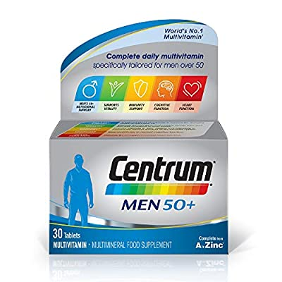 Centrum Men 50+ Multivitamin & Mineral Tablets, 24 Essential Nutrients Including Vitamin D, Complete Multivitamin Tablets, 30 Tablets