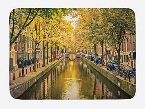 ABAKUHAUS Amsterdam Tappetino da Bagno, Ponte sul Canale Olanda, Vasca Doccia WC Tappeto in Peluche con Supporto Antiscivolo, 45 cm x 75 cm, Olive Green Multicolor
