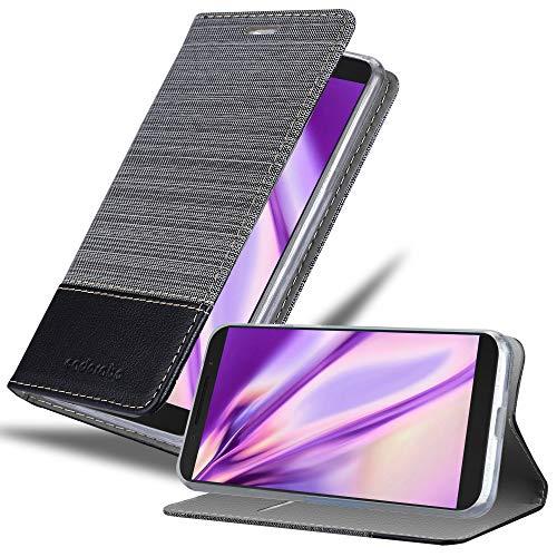 Cadorabo Hülle für Alcatel 3X (Nicht für 2019) in GRAU SCHWARZ - Handyhülle mit Magnetverschluss, Standfunktion & Kartenfach - Hülle Cover Schutzhülle Etui Tasche Book Klapp Style
