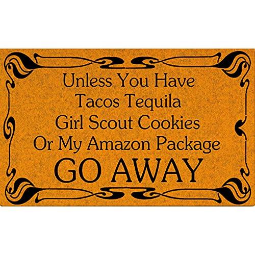 N/A Felpudo Entrada Alfombrilla para Puerta de Girl Scout Cookies Go Away, Felpudo Divertido para Interior/Exterior, Felpudo Lavable a máquina para Puerta Frontal de patio-20x28 Inch