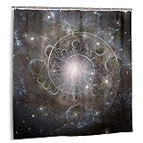 goodsaleA Cortina de baño,espíritu Eterno.Espiral del Tiempo En El Espacio.Set de decoración de baño de Tela con Aura o Alma con Ganchos 150cmx180cm