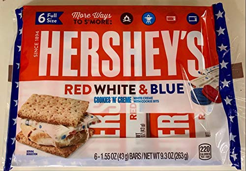 Hershey's Red White Blue Cookies 'N' Creme Full Size Candy bars Pack of 1 (6 candy bars)