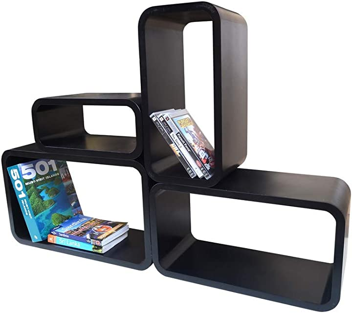Mensola moderna  da muro libreria scaffale vari colori retrò cubi moderno lo01 (nero) B01M62GGYG