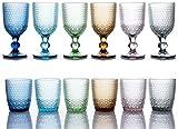 kedea bicchieri acqua colorati in vetro, calici vino colorati in vetro, lavabili in lavastoviglie, bicchieri e calici in pasta colore lavabili in lavastoviglie, pave' mix 6 colorazioni.