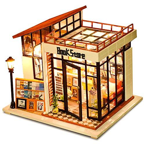 CuteBee DIY木製ドールハウス、BOOK STORE 、ミニチュアコレクション、LEDライト、オルゴール、プレゼント、電池AAA*2必要(M012C)