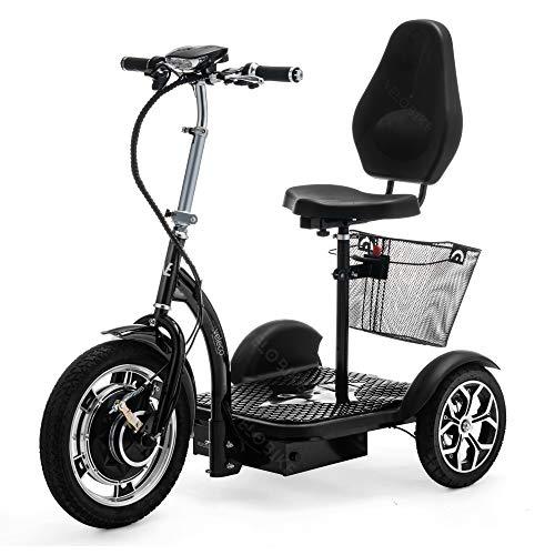 VELECO 3 Wheeled Folding Electric Scooter Mobility Trike ZT16 (Black)