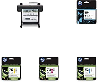 """HP DesignJet T630 Large Format Wireless Plotter Printer - 24"""" (5HB09A), with Multipack and High-Capacity Genuine Ink Cartr..."""
