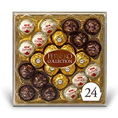 24 delicious assorted Ferrero Rocher chocolate and coconut candies, presented in an impressive transparent gift box (8 of each flavor), the perfect gift for loved ones Raffaello: A crunchy specialty with a velvety hazelnut cream filling; a sweet prel...