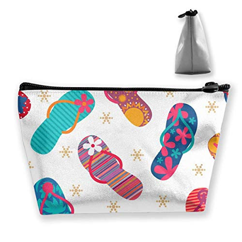 Portable Cool Flip Flops Slippers Trapezoidal Storage Pouch Cosmetic Bag Makeup Bag Travel Pouches Toiletry Bag Cases with Zipper for Women and Girls