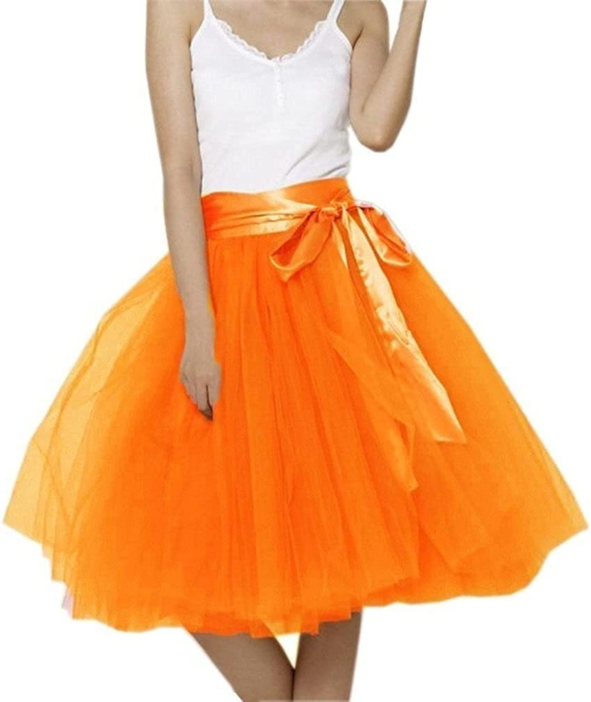 Women's XL Long Skirt, A-line Short Skirt, Tulle Long Skirt, Tulle Wedding Dress, Tulle Dress (Color : Orange, Size : XX-Large)