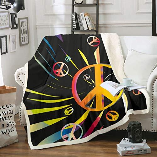 Loussiesd Paz Art Manta polar para sofá sofá de estilo hippie Sherpa manta de paz, decoración de habitación colorida geométrica, manta de felpa individual de 50 x 152 cm reversible