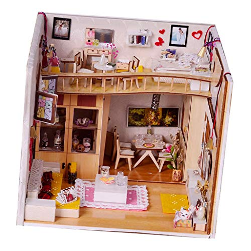 HomeDecTime Kit de Casa de Muñecas de Bricolaje, Muebles en Miniatura, Luces LED, Juegos de Rompecabezas de Casas en 3D, Decoración Creativa de La Habitación 1:24