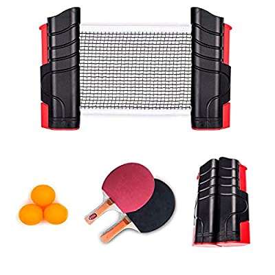 Professional Ping Pong Paddle Set, Tabletop Table Tennis Set Anywhere Ping Pong Equipment to-Go Includes Retractable Net Post 2 Ping Pong Paddles, 3 pcs Balls, Attach to Any Table Surface for All Ages by OZ