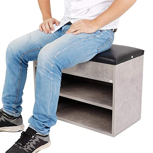 Zapatero de 2 capas con cojín que ahorra espacio, tamaño reducido, MDF + PU, zapatero, estante de madera, suministros para el hogar, dormitorio, sala de estar