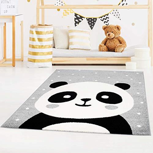 carpet city Kinderteppich Bubble Kids Flachflor Panda-Bär, weiß gepunktet in Grau für Kinderzimmer; Größe: 160x225 cm