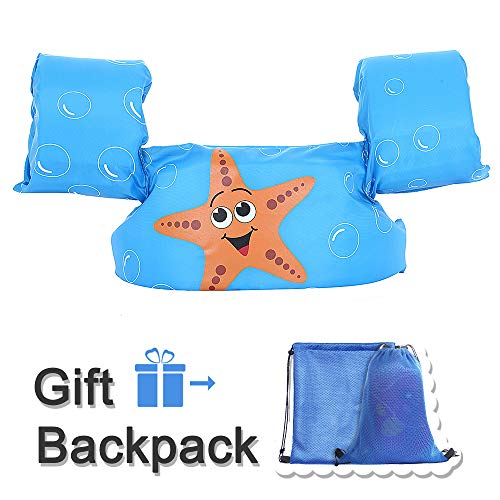 Kid Toddler Swim Vest Life Jacket Vest Kid Floaties Vest TEWENE Boating Vest with Adjustable Chest Strap and Storage Bag Suitable for 22-66 lbs/Beach/Pool/Ocean (Blue Starfish)