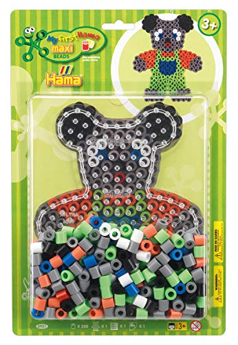 Hama Perlen 8931 Set Teddy mit ca. 250 bunten Maxi Bügelperlen mit Durchmesser 10 mm, Stiftplatte in transparent, inkl. Bügelpapier, kreativer Bastelspaß für Groß und Klein