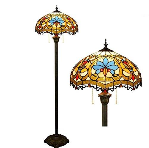 16 inch vintage Tiffany stijl vloerlamp, Europese creativiteit glad schilderen vloer uplighter, woonkamer, slaapkamer, nachtkastje decoratie vloerlamp, ritssluiting lamp E27 (gloeilampen niet in li)