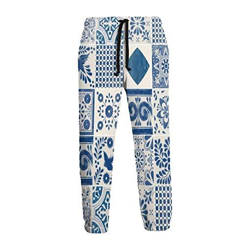 Inaayayi Pantalones deportivos para correr con diseño de azulejos mexicanos de cerámica Talavera con impresión 3D para hombres y mujeres