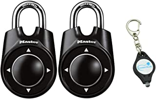 Master Lock 1500ID Padlock, Set Your Own Speed Dial Combination Lock, 2-1/8 in. Wide, Assorted Colors 2 Pack, Bundle with Lumintrail Key Chain Light