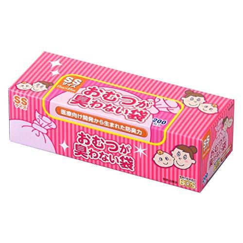 驚異の防臭袋 BOS (ボス) おむつが臭わない袋 赤ちゃん用 おむつ 処理袋 【袋カラー:ピンク】 (SSサイズ 2...