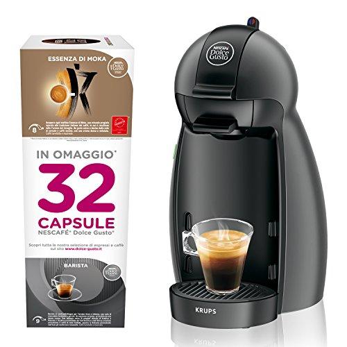 NESCAFÉ DOLCE GUSTO Piccolo KP100BKP con 32 capsule in omaggio, Macchina per Caffè Espresso e altre bevande Manuale Antracite di Krups