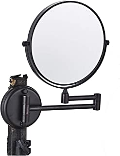 ZETA Collapsible Round Bathroom Wall Mounted Natural Makeup Mirror Black 3X (8 IN)