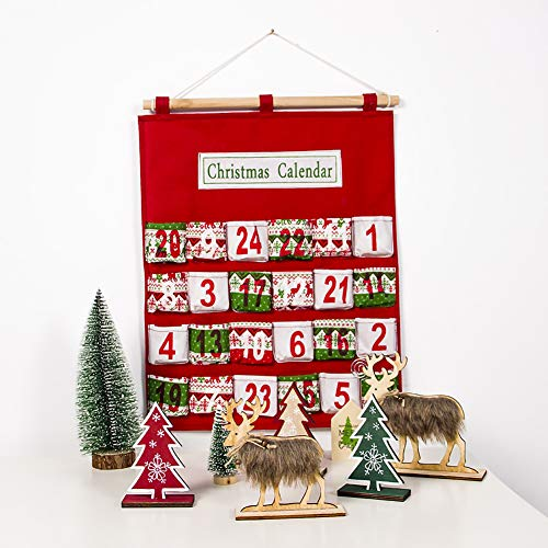YOUNICER Navidad 24 días Tela Colgante Calendario de adviento DIY Navidad Cuenta Regresiva Decoraciones estacional Tela Colgante de Pared