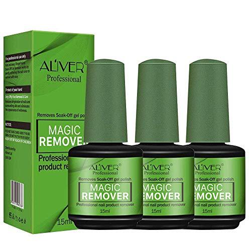 Nail Polish Remover 3Pcs, Magic Soak-Off Gel Nail Polish Remover-Quick,Professional Nail Polish Remover for Natural, Gel Nails