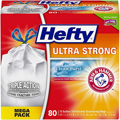 Hefty Ultra Strong Tall Kitchen Trash Bags - Clean Burst, 13 Gallon, 80 Count