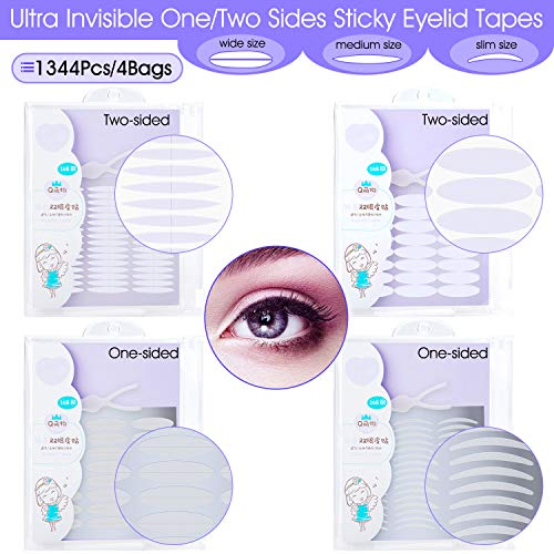 INS 1344Pcs/4Pack Ultra Invisible One/Two Side Sticky Double Eyelid Tape Stickers, Medical Fiber Eyelid Lift Strip, Instant Eyelid Lift Without Surgery, Perfect for Hooded, Droopy, Uneven, Mono-eyelid