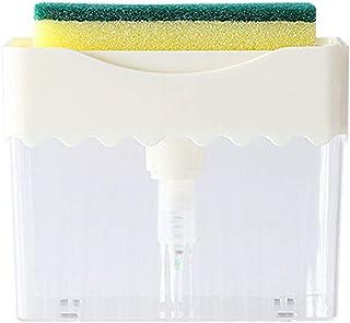 Huilongxin Press Hand Pump Soap Dispenser Sponge Holder 2 in 1 for Kitchen Sink Dish Washing Detergent
