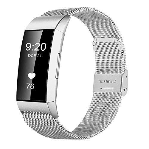 JUN1 Compatible with Fitbit Charge 3 Bands Stainless Steel Wristbands for Men Women Lightweight Replacement Straps Accessories for Fitbit Charge 3