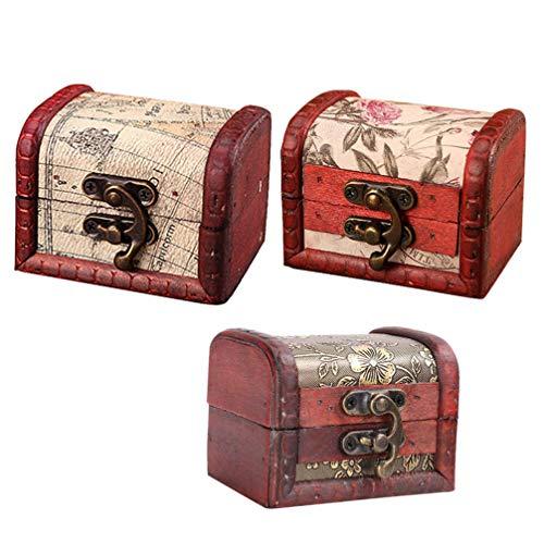 Cabilock 3 Unids Mini Recuerdo de Madera Cofre Del Tesoro Caja de Baratijas Caja de Almacenamiento de Joyería Retro Cajas de Regalo de Dulces para Anillos Collar Pendientes Embalaje