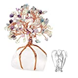 CrystalTears - Pietra di cristallo di rocca per energia chakra, altezza 12-16 cm, con base decorativa, albero della vita, meditazione, guarigione, Reiki, portafortuna, prosperità