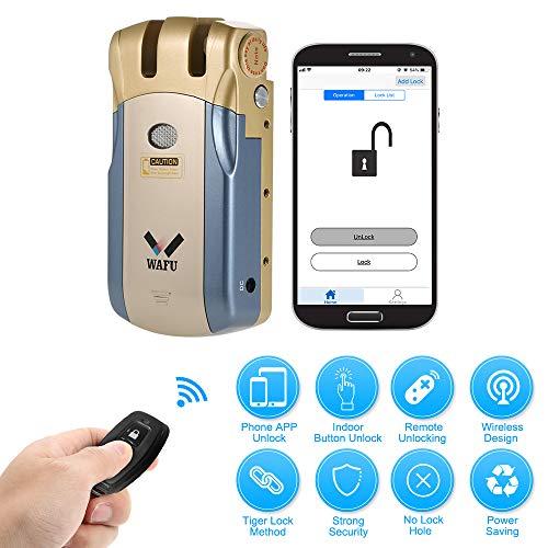 OWSOO WAFU WF-018U Cerradura Inalámbrica Inteligente Cerradura Control Remoto Cerradura Invisible Aleación de Zinc Metal Desbloqueo de iOS Android App con 2 Teclas Remotas, Azul+Oro