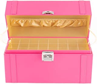 JackCubeDesign Nail Polish Organizer Makeup Train case 48 Compartments with Removable Tray(Pink Leather)-MK406B