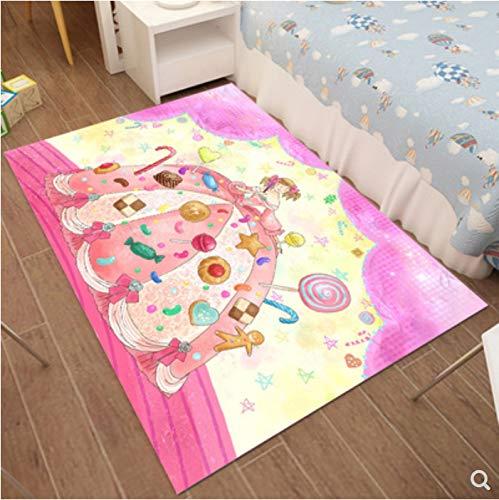 zzqiao Teppich Cartoon Anime Kinderzimmer Rechteckigen Europäischen Und Amerikanischen Stil Mädchen Prinzessin Schlafzimmer Bett Voller Teppich 100 * 160 m