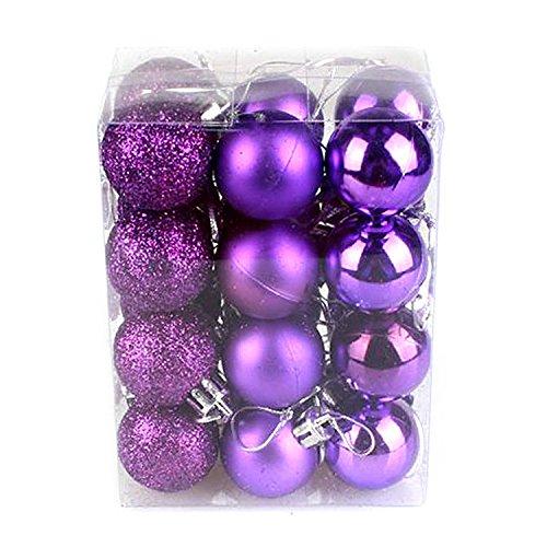24PCS Boules de Noël en Plastique pour la Décoration du Festival pour le Carnaval du Soir - Violet