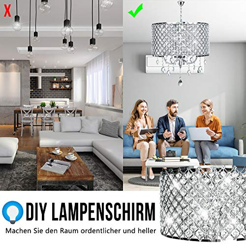 Kristall Hängeleuchte Lampenschirm Kronleuchter Deckenlampe Lüster Pendelleuchte zylindrisch Hängelampenschirm E14 (Keine Glühbirne enthalten) - 4
