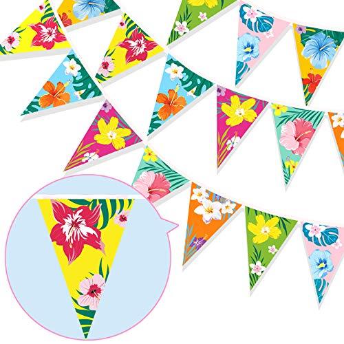 HOWAF Banderines de Hawaianos Fiesta Bandera Triangular de Verano Floral Guirnalda para Celebración Fiesta de Luau Summer Playa Tema Fiesta de Cumpleaños Bodas Carnaval Mexicano Hawaianos decoración