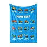 Personalized Custom Name Dump Truck BulldozerFleece and Sherpa Throw Blankets for Boys Girls Kids Baby Toddler Construction Tonka Trucks Tractor Firetruck Garbage (30' x 40' Baby Fleece)