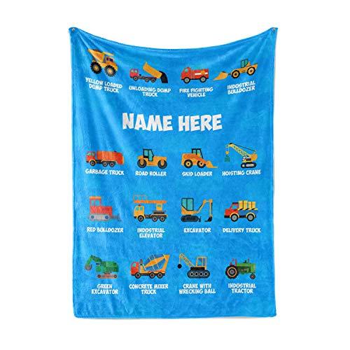 "Personalized Custom Name Dump Truck BulldozerFleece and Sherpa Throw Blankets for Boys Girls Kids Baby Toddler Construction Tonka Trucks Tractor Firetruck Garbage (30"" x 40"" Baby Fleece)"
