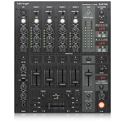 Behringer Pro Mixer DJX750 Professional 5-Channel DJ Mixer with Advanced Digital Effects and BPM Counter