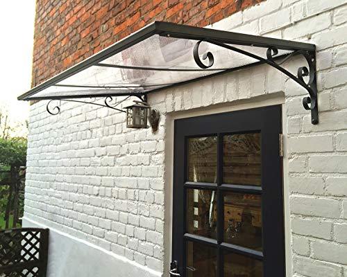 Palram Venus 1350 Window & Door Awning, 4' L x 3' W x 1' H - Dark Gray/Frost