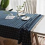 Mantel Rectangular de Alta Gama con Rayas y borlas, Mantel de Lino, atmósfera Simple 140x220cm Igual Que la Foto