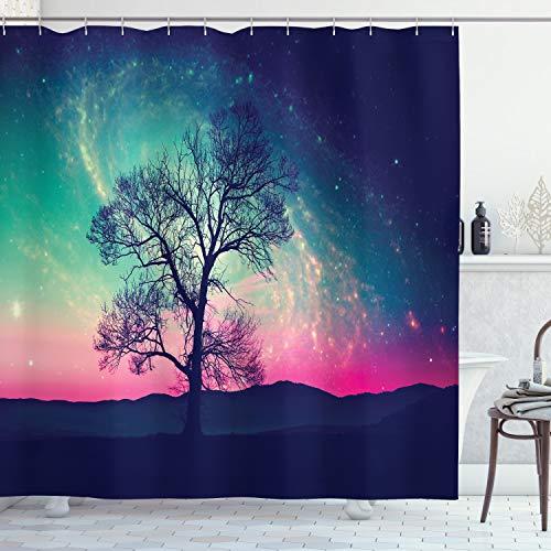 ABAKUHAUS Platz Duschvorhang, Magische Aurora Borealis, mit 12 Ringe Set Wasserdicht Stielvoll Modern Farbfest & Schimmel Resistent, 175x240 cm, Dunkelblau Rosa Aqua