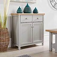 Home Source Oak Sideboard Storage Cupboard with Shelf and Metal Handles, MDF, Grey, 2 Door 2 Drawer